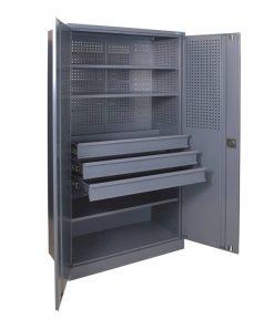 Įrankių spinta su lentynomis ir stalčiais